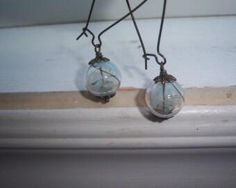 Dandelion Earrings  - Make A Wish Glass Orb Earrings -Blue And White swirl Earrings - Something Blue -Bridesmaid Earrings - With  Free Gift