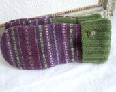 Felted Wool Mittens // Purple Fair Isle Knit Mittens // Warm Repurposed Sweater Wool Mittens