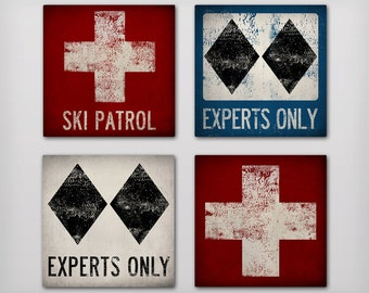 SKI & SNOWBOARD Sign Double Black Diamond Experts Only Ski Patrol Graphic Art Stretched Canvas Ready-To-Hang