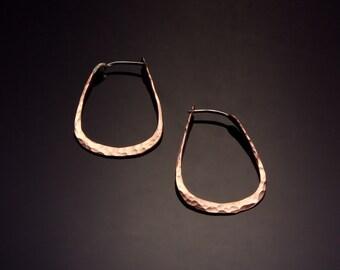 Copper Egg Shaped Hoop Earrings // Small Geometric Hoop Earrings