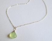 Silver Prehnite Necklace Sterling Silver Gemstone Necklace
