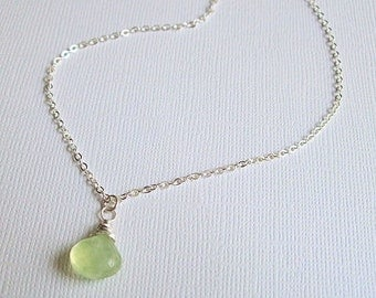 Silver Prehnite Necklace Sterling Silver Gemstone Necklace