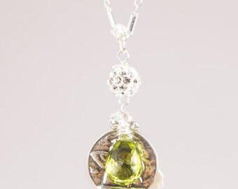 Angel Peridot Pearl Sterling Silver Pendant Necklace