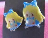 Little Alice In Wonderland Sticker Earrings