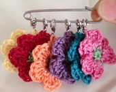 Six Crocheted Stitch Markers/ Crochet Stitch Markers/ Flower Stitch Markers