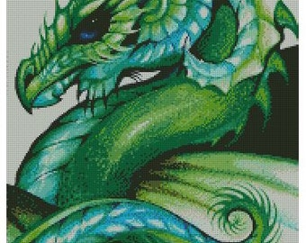 Green Dragon Cross Stitch Pattern