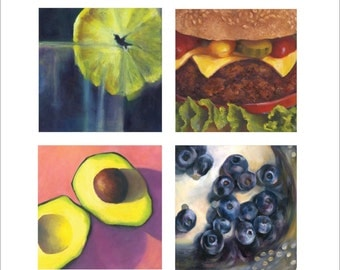 Taste of Summer - blank note cards set - art card of oil painting still life of food