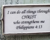 Inspirational Philippians 4 13 Soldered Necklace, Soldered Charm, Bible Verse Necklace; I can do all things through CHRIST...
