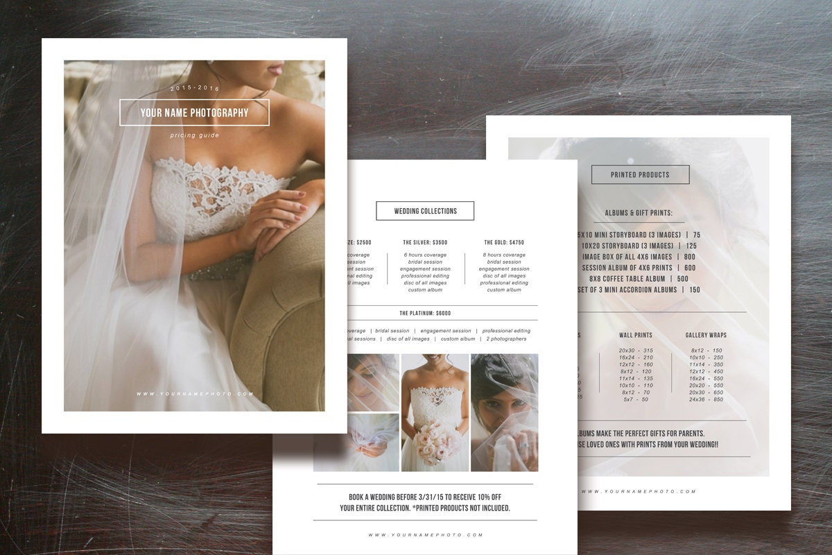 photographer pricing guide set wedding magazine price list