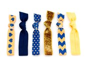The Navy and Gold Team Color Hair Tie Package - 6 Football College Sorority Spirt Hair Ties that Double as Bracelets by Mane Message on Etsy