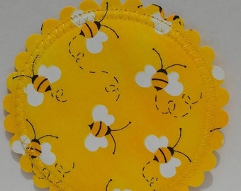HIP HOOTERS...bumble bee...breast feeding pads...nursing pads with PUL...washable...organic cotton and bamboo...ecofriendly...in 'Conner B'