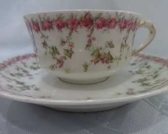 Vintage Haviland Limoges Cup and Saucer/Pink Roses