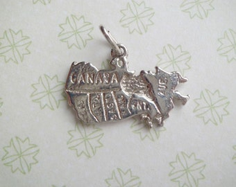 Vintage Sterling Map of Canada with Territories Travel Charm Rhodium Plated