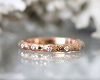 Gold Leaves Diamond Eternity Ring, 14K Rose Gold Ring, Wedding Band, Stacking Ring, Engagement Ring, Eco Friendly - Made To Order