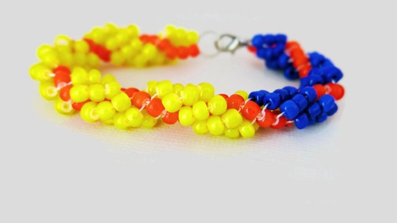 Fire Spiral Rope Bracelet Yellow Orange and Blue - Seed Bead Handwoven G-165