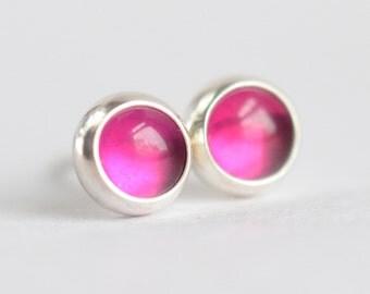 pink lab ruby corundum 5mm sterling silver stud earrings pair