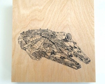 Wood Wall Art Panel Star Wars Art Print Millennium Falcon on Wood Customize Colors And Size Star Wars Print Art On Wood Millennium Falcon