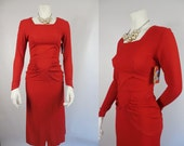 1940's/ 1950's  Red Crepe Rayon Dress with Ruched Hips