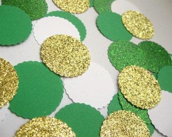 Emerald Green/Gold Confetti - Party/Holidays/Table Decor/DIY Garland/ Wedding Confetti - Toss Confetti - Table Scatter