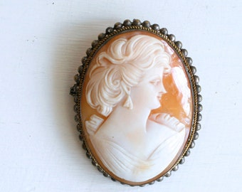 1910s silver shell cameo brooch / antique large portrait cameo pin