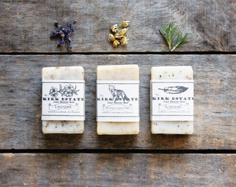 3 Small Bars // cold process soap // handmade soap // soap gift set // organic ingredients // lightly scented // eco friendly // natural