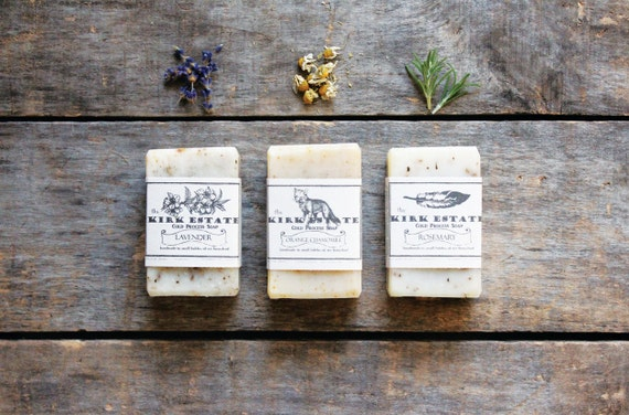 Handmade Soap, soap gift set, three small bars cold process soap, homemade soap, organic ingredients, lightly scented, eco friendly, natural