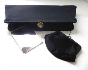Vintage 1950s Black Clutch Handbag - Black 50s Purse with rhinestone clasp Coin Purse and Mirror - on sale