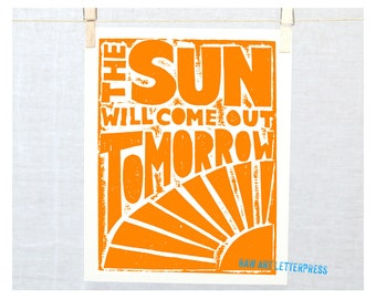 The Sun will come out Tomorrow Annie Print Typography Poster
