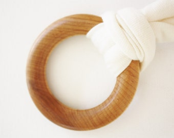 American made Maple Wood ring baby teether with natural organic cotton, natural ecofriendly non toxic