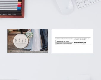 Maya minimal double sided photography business card - Instant download
