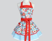 Ruffled Retro Apron - Flirty Red and Teal Floral by AdornIt Vintage Style Full Kitchen Apron Personalize or Monogram