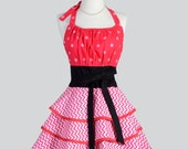Flirty Chic Apron . Hot Pink White Chevron and Polka Dots Fabric Flirty Skirt Cute and Sexy Retro Womens Apron Cute Flirty Chic Apron