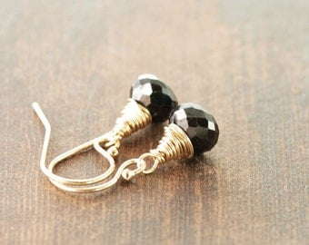 Black Onyx 14k Gold Earrings, Black and Gold Gemstone Earrings, Simple Date Night Jewelry