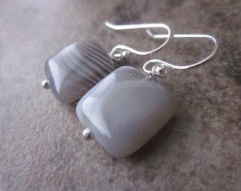 Botswana Agate Earrings, 925 Sterling Silver, Natural Stone, Square Earrings, Banded Stone, Grey & White Stripes, Greyscale, Bridal Earrings