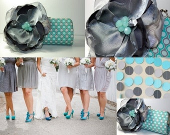 Bridesmaid Clutch - Gray and Aqua Wedding - READY TO SHIP - Bridesmaid Gift - Personalized Wedding - Custom Clutch - Maid of Honor Gift