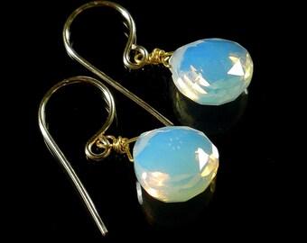Opal Drop Earrings, Opalite Earrings, Opal Glass Earring, Opal Briolette Earring