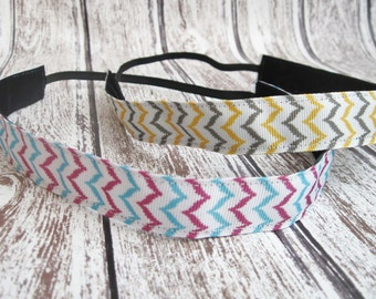 Non-slip Multicolor Chevron Headband, Workout Headband, Running headband, Velvet backed Headband for Women, Girls, Toddlers