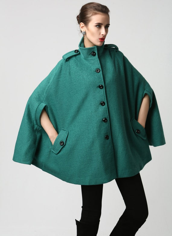 womens cape Teal Cape Coat wool cape Turquoise wool coat