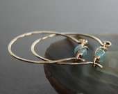 Rose gold tone bronze hoop earrings with unique aquamarine stone closure - Hoop earrings - Rose gold earrings - Aquamarine earrings
