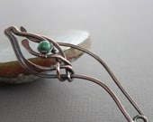 Tulip shawl pin, scarf pin in copper with turquoise stone - Stone pin - Turquoise pin - Other stone options