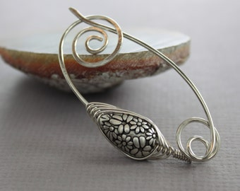 Silver shawl pin or scarf pin with herringbone wrapped floral silvered teardrop acrylic bead - Fibula - Sweater clasp - SP057