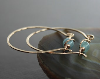 Rose gold tone bronze hoop earrings with unique aquamarine stone closure - Hoop earrings - Rose gold earrings - Aquamarine earrings - ER029