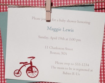 Tricycle invitation for shower or birthday