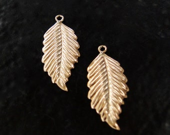 One 14K Gold Filled Leaf Charm 9x21mm