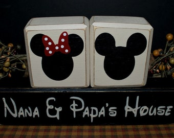 Mickey and Minnie Mouse Nana & Papa's House primitive wood blocks sign