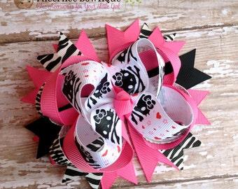 Hello Kitty Skull and Bones OTT Hair Bow, Baby Headband, Infant Headband, Newborn Headband, School Bows, Birthday Gift, Zebra, Hot Pink