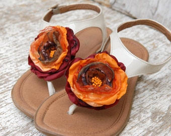 Maroon and orange shoe clips flowers, Bridel Flower Shoe Clips