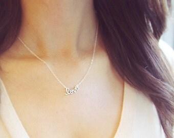 Cursive Love Necklace | Sterling Silver or 24kt Gold Vermeil | Love Necklace