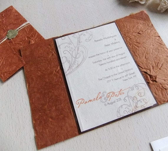 Custom Rustic Wedding Invitations: Rustic Wedding Invitation Handmade Lotka Paper Wax Sealed