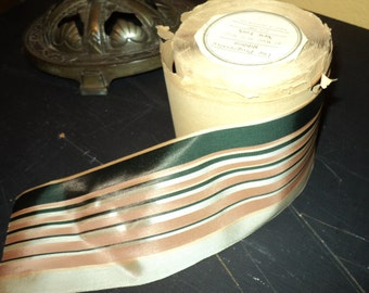 Antique Ribbon Striped Dark Pine and Peach Ribbed European Original Old Store Stock Rayon